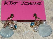 BETSEY JOHNSON STUNNING BLUE SEA SHELL STARFISH PEARLS CRYSTAL EARRINGS OCEAN