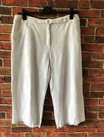 Per Una M&S White Lined Linen 3/4 Trousers Size 16 Short Summer Holiday Cruise