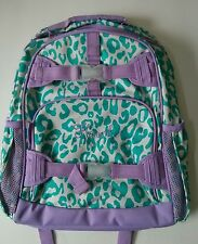 Pottery Barn Kids Teal & Purple Cheetah Large Mackenzie Backpack name HANNAH