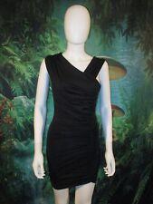 Bebe Women's Medium Black Asymmetric Bodycon Club Mini Dress XXS (C)