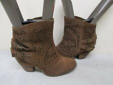 Naughty Monkey Brown Suede Leather High Heel Ankle Boots Womens Size 10