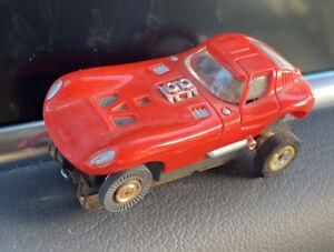 VINTAGE AURORA AFX CHEETAH, TJET HO SLOT CAR, RUNNING SOLID RIVET CHASSIS Red