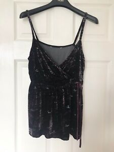 Purple Sequinned Thin Strap Top, Size 14