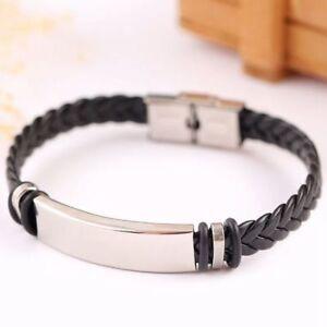 Black Mens Boys Leather Braided Wristband Bracelet Stainless Steel Bangle UK