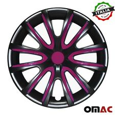 "14""Inch Hub Cap Wheel Rim Cover For BMW Glossy Black  Violet Insert 4pcs Set"