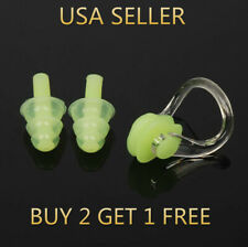Green Silicone Waterproof Swim Swimming Nose Clip + Ear Plug Earplug Combo Set
