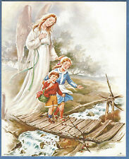 """Catholic Print Picture Guardian Angel w/ boy and girl on bridge 8x10"""" from Italy"""