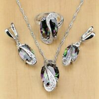 Mystic Rainbow Topaz Oval Jewelry Set 925 Sterlin Silver Curved Women Party