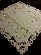 """33""""Square Embroidered Tablecloth Christmas Bells Table Topper Holiday Home Decor"""