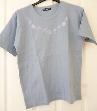 Lady's May Morgan Short Sleeve Blue Floral Motif Cotton Top Scoop Neck M/L