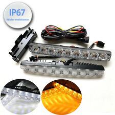 Driving Lamp DRL 9 LED Switchback Turn Signal Daytime Running Light Hon ALS