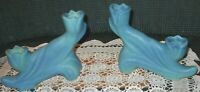 SALE!  Vintage Pair Double Candlestick Holders Ming Blue Van Briggle Pottery