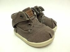 Toms Shoes Botas Ash Canvas High Top Canvas Baby Size 4 Brown Brand New
