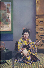 TUCK: JAPANESE AT HOME -Lady with a musical instrument -OILETTE 7907