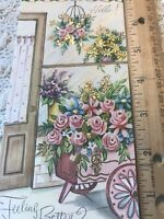 Vintage Greeting Card Get Well Glitter Gold Pink Roses Flower Cart Door Curtains