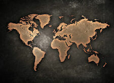 World Map Black A3 Poster Print 260gsm