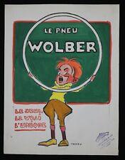 TEDDY Edouard Saunier (1885-1918) PROJET pneu Wolber gouache vélo bicyclette