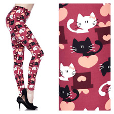 Soft Peach Skin Texture One Size Leggings fits size 2-16 Adorable Kittens