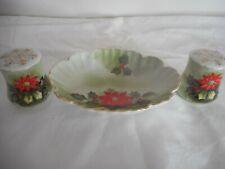 Vintage Lefton Christmas Poinsettia Salt Pepper and Dish 4394 4390 Ltd Ed