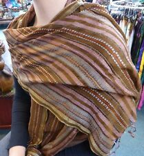 100% Cotton Thin Indian Striped Scarf Shawl Wrap With Tassels Brown Tones