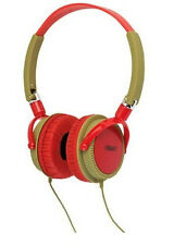 Urbanz Wild Stereo Headphones on Ear for Mp3 Mobile Audio Khaki / Red