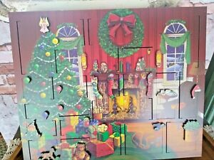 BYERS CHOICE FIRESIDE WOODEN ADVENT CALENDER CHRISTMAS COUNT DOWN