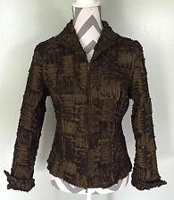 SAMUEL DONG Womens Brown Bronze Textured Full Zip Up Jacket Coat Sz M EUC