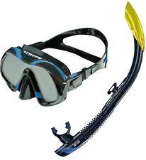 ATOMIC AQUATICS - Venom Mask + SV2 Snorkel Set - Deluxe Quality - Back Blue