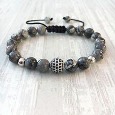 Bracelet perle pavée de Zircon et jaspre (Homme Shamballa argent)
