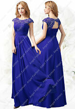 Chiffon M03 Long Maxi Evening Wedding Bridesmaid Formal Party Prom DressUK 8-24 Royal Blue 22