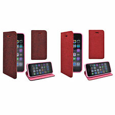 FOR APPLE IPHONE 5/5S/5SE GLITTER RED / DARK RED WALLET COVER CASE