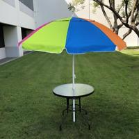 Rainbow Beach Umbrella 7ft Sand Anchor with Tilt Aluminum Pole UV 100 Prote