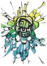 Psychedelic Northwest Coast Haida Style Formline Art Print 9x12, Seattle artist