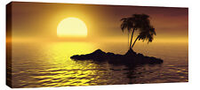 LARGE SUNSET SEA MODERN TRANQUIL SEASCAPE CANVAS 44x20""