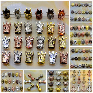 Solid Metal Dumbbell,Crown,Anchor,Fox,Owl Bracelet big hole Charm Beads