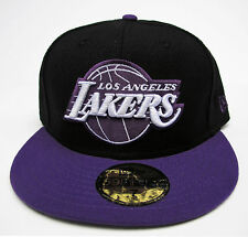 newest d4162 d2c30 LA Lakers Black on Purple Fitted Cap Hat NBA New Era Size 7