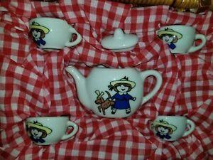 VINTAGE Madeline Porcelain Tea Set Wicker Basket Schylling. Girl Dog