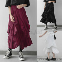 UK Womens Tiered Skirts Layered Swing A-line Irregular Cocktail Party Cake Dress