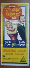 IF A MAN ANSWERS Rare Original 1960s Stone-Litho Daybill Movie Poster Sandra Dee