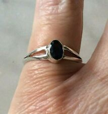 Ring  Sterling Silver  & Sapphire Size K  Vintage