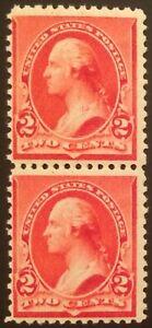 "Scott #220a, 2c Carmine Cap on Left ""2"", Never Hinged vertical pair, rich color"