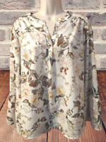 Carolina Belle Women's Blouse Size XL Long Sleeve Floral Pullover Top