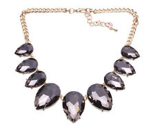 DYANA GUN METAL CHUNKY STONE STATEMENT NECKLACE GREAT GIFT REGAL LOOK (CL32)