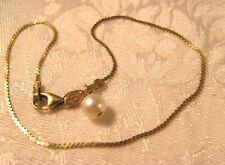 "8.5"" Bracelet 14K Gold Pearl Venetian Flat Box Peru Patented 1mm wide 1.5g"