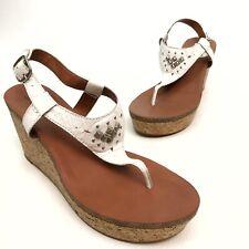 ✅❤️✅$ Lucky Brand Narnie White Sandals Wedge Women 9.5 Eu39.5 Platform NWOB