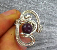 PINK TOURMALINE  RUBELITE GEMSTONE RING WIRE WRAPPED  SIZE 5 TO 15 BEAD RING