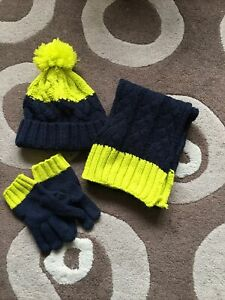 Boys Tu Blue Yellow Knitted Hat Scarf Glove Set Age 3 - 6 Years
