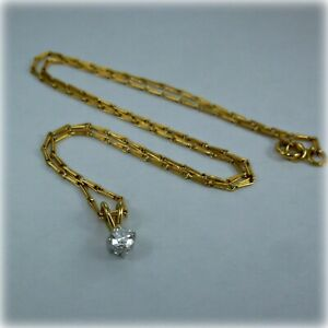 """18ct gold Diamond Solitaire Pendant, on 16"""" Hayseed style Chain"""