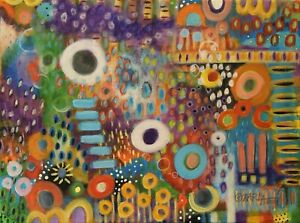 Wildflowers 12 x 16 ORIG CANVAS PAINTING Folk ART COLORFUL ABSTRACT Karla Gerard