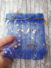 25 Royal Blue Star and Moon Organza Bags, 12 x 9cm, BULK, Gold Pull Tie, Baby